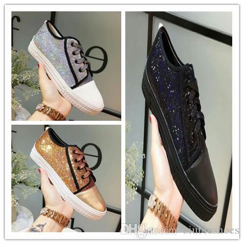 55a134dbe7ea23 Acheter 2019 Nouveau Designer Marque De Luxe Femmes Casual Sequin  Chaussures Mode Cuir Confortable Chaussures Dames Plat Casual Chaussures De  $44.91 Du ...