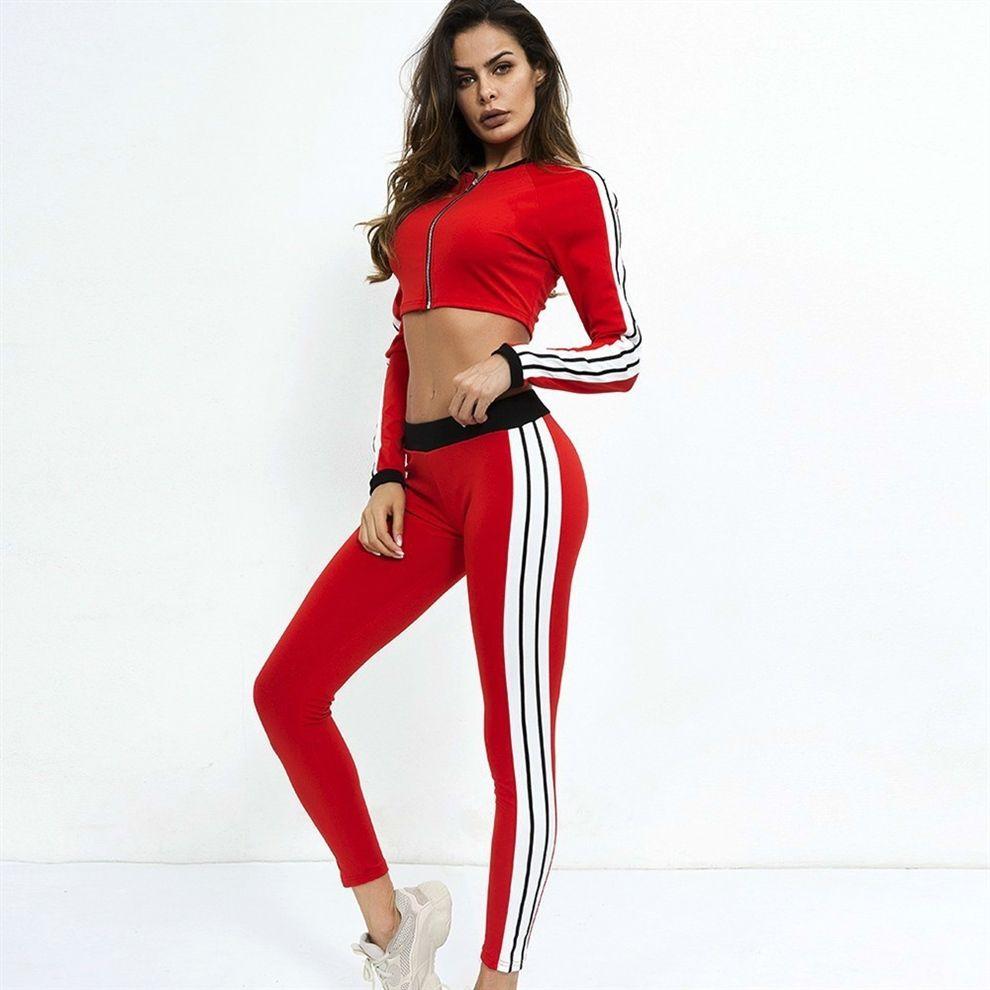 146d170a1c86 New Crop Top Sportswear Long Sleeve Sport Suit Zipper Gym Fitness Set  T-shirt+Sport Leggiings Yoga Set Women Running Sports #135217
