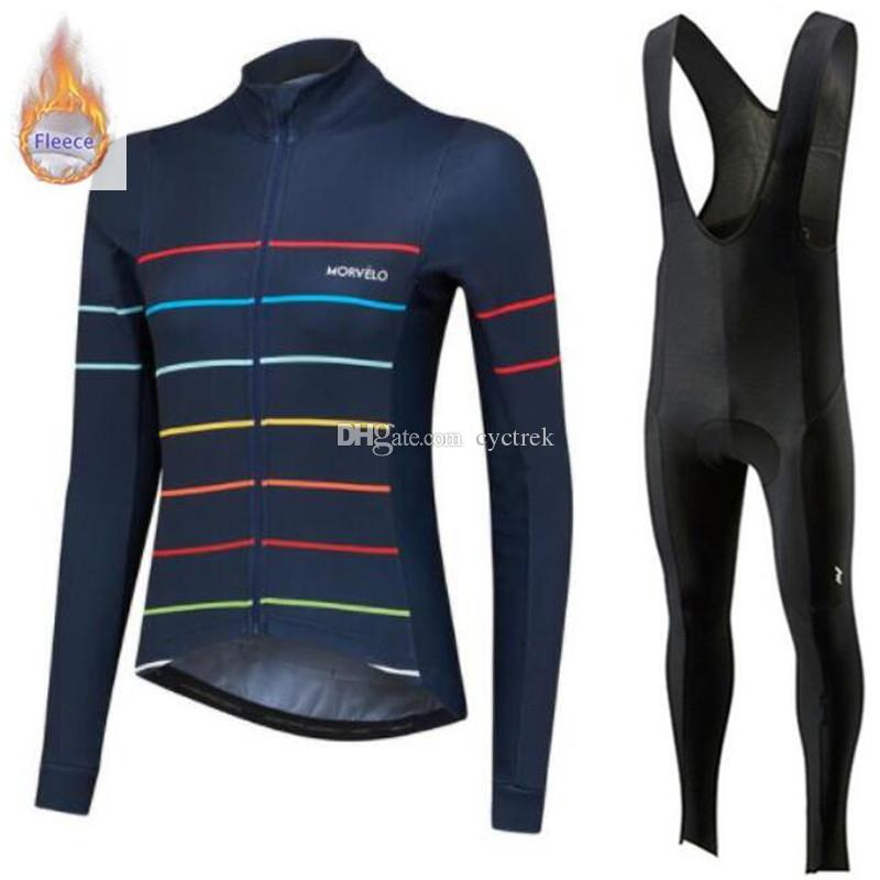 Morvelo team High Quality winter thermal Fleece long sleeve men MTB Bike cycling jersey Maillot Ropa Ciclismo bib pants suit Cycle Clothes