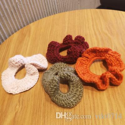 20190830 Handmade wool knitting hairrings in autumn and winter