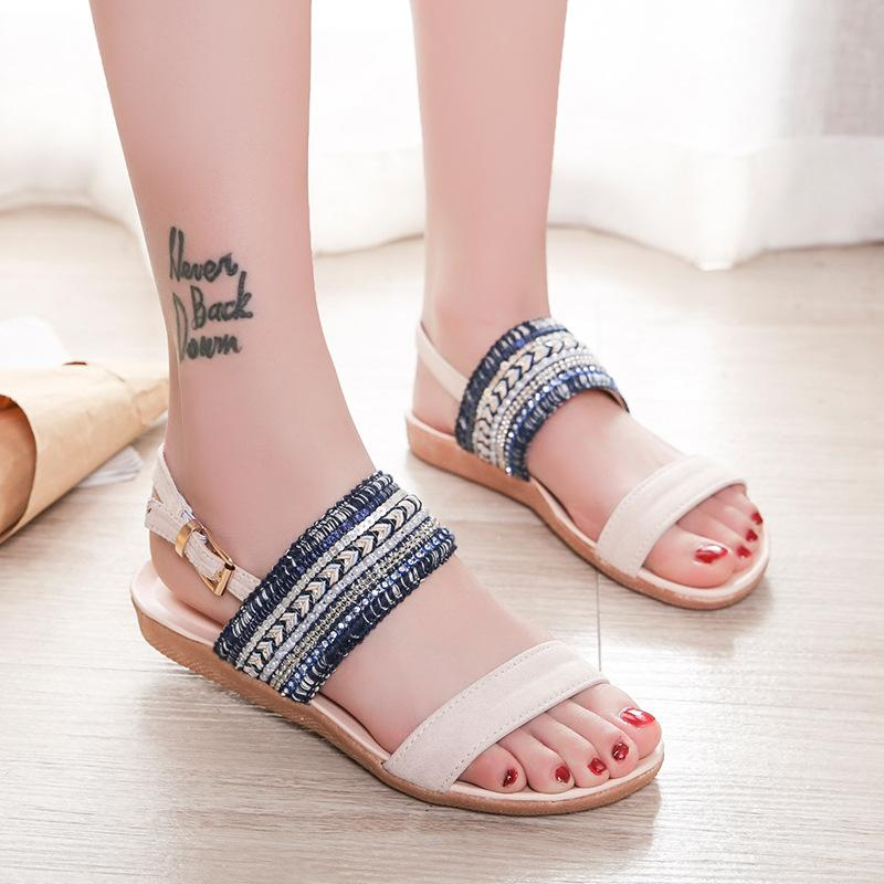 7f2730c23261 Gladiator Style Women Sandals 2019 Summer Flat Shoes Woman String Bead  Bling Sandal Female Fashion Flats Shoes Big Size 36 42 Strappy Sandals  Skechers ...