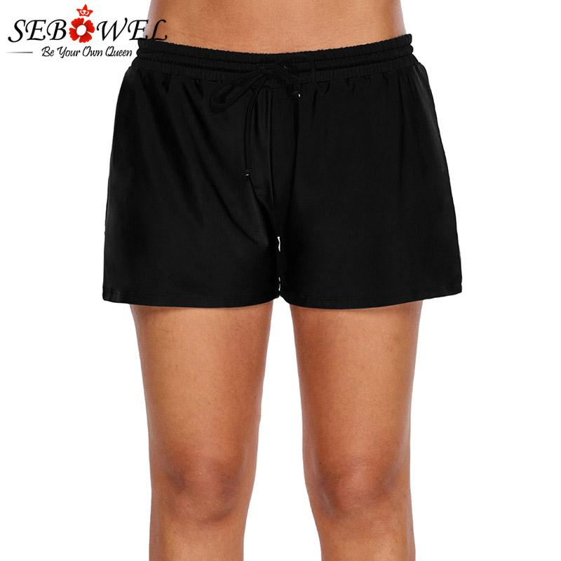 981618b26ab SEBOWEL Women Elastic Drawstring Swim Shorts Swimsuit Plus Size Sexy Bikini  Bottom Swimwear Boardshort Beach Shorts Black Blue UK 2019 From Beltloop
