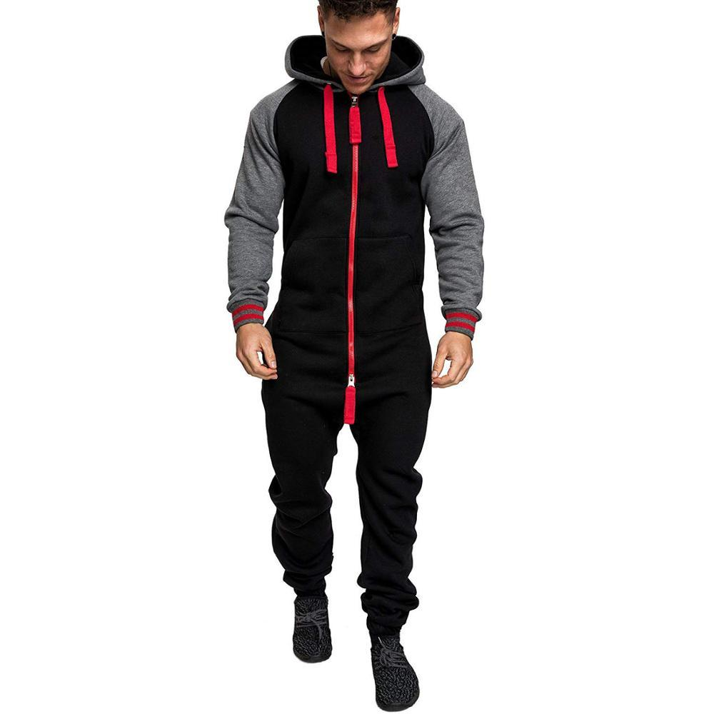 Men's hooded plus velvet one-piece sweater color matching European and American personality jumpsuit Fitness sportswear
