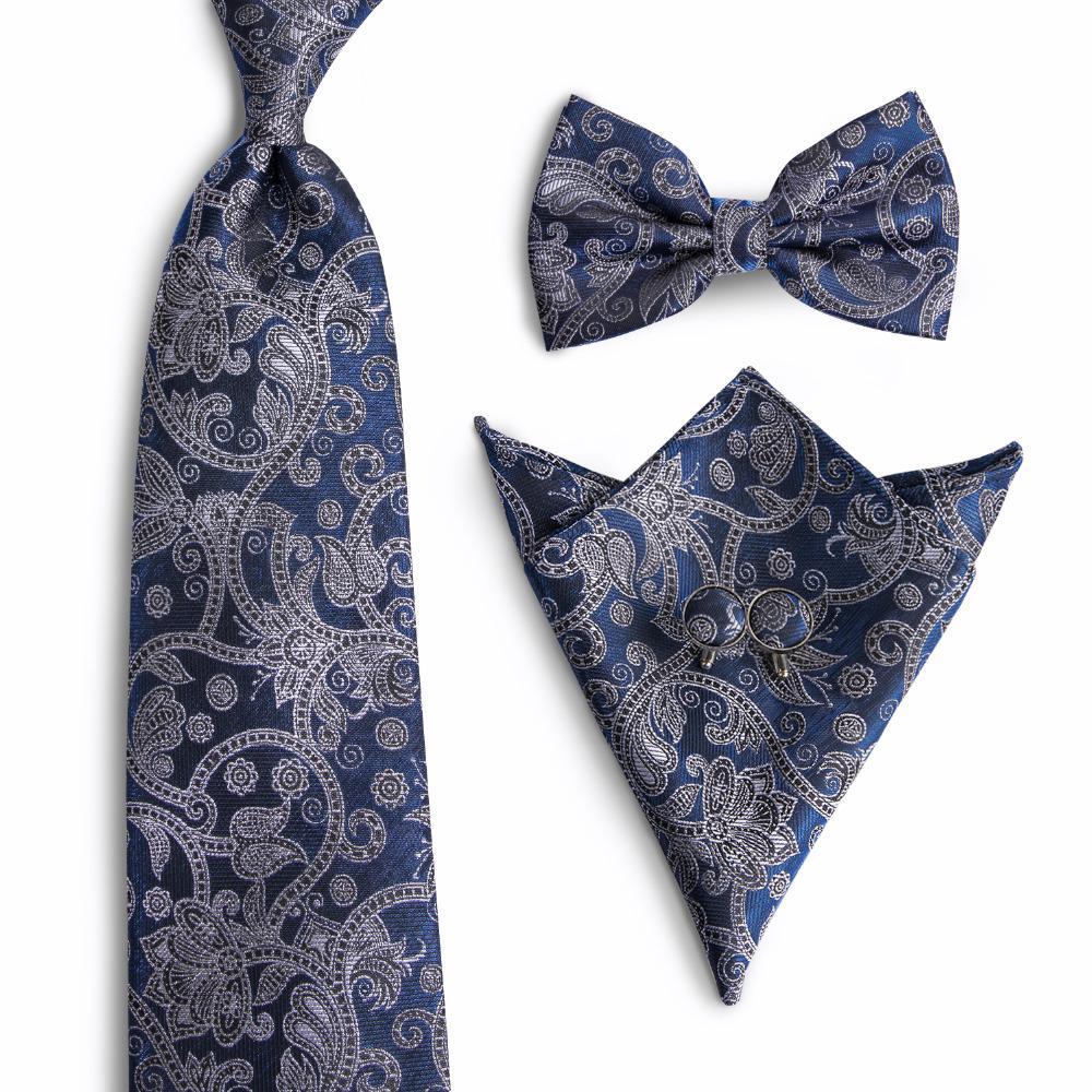 7856d9a0c245 DiBanGu Men's Tie Fashion Classic Necktie Bowtie Fashion Blue Gray Floral  Paisley Tie Neck Ties For Men Wedding Party SL-0014