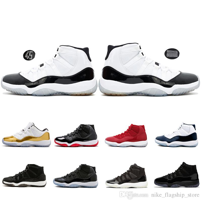 2019 New Concord 45 11 XI 11s Mütze und Kleid Bred Gym Rot Platin Farbton Space Jams Männer Basketball Schuhe Sport Sneakers 36-47
