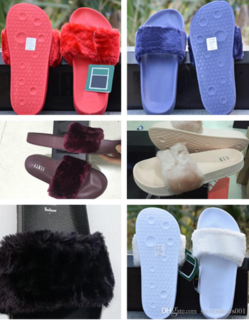 71fb2bcec Compre Puma Leadcat Fenty Rihanna Zapatos De Marca Clásica Para Mujer  Sandalias Desgastan Rosa Negro Burdeos Blanco Gris Púrpura Rojo Piel  Diapositivas ...