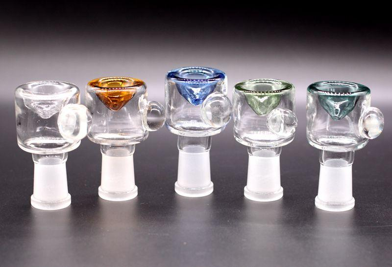 14mm 18mm Herb Slide Dab Pieces Glass Bowls Colorful Dry Herb Bowl Tobacco  Bowls Ash Catcher for Glass Bongs Water Pipes Dab Rig
