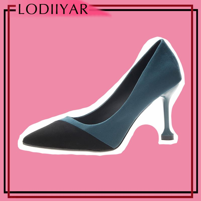 Dress Shoes Ladies Women Pumps High Heels Fashionable Mixed Color Pointed  Toe Suede Shallow Mature Footwear Lady Office Party Mens Shoes Loafers From  ...