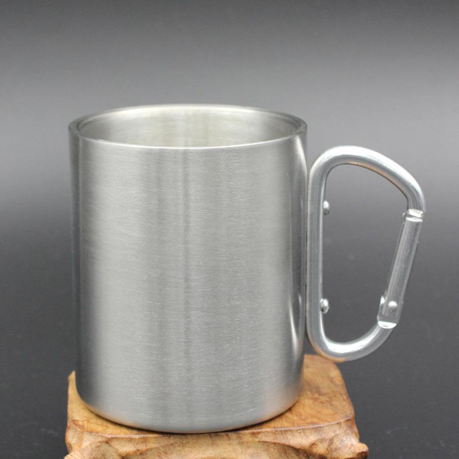 2877c98e9e3 Outdoor Stainless Steel Carabiner Mug Cups 220ml Mountaineering Water  Bottles Portable Camping Coffee Cup With Carabiner Handle DH1115 T03