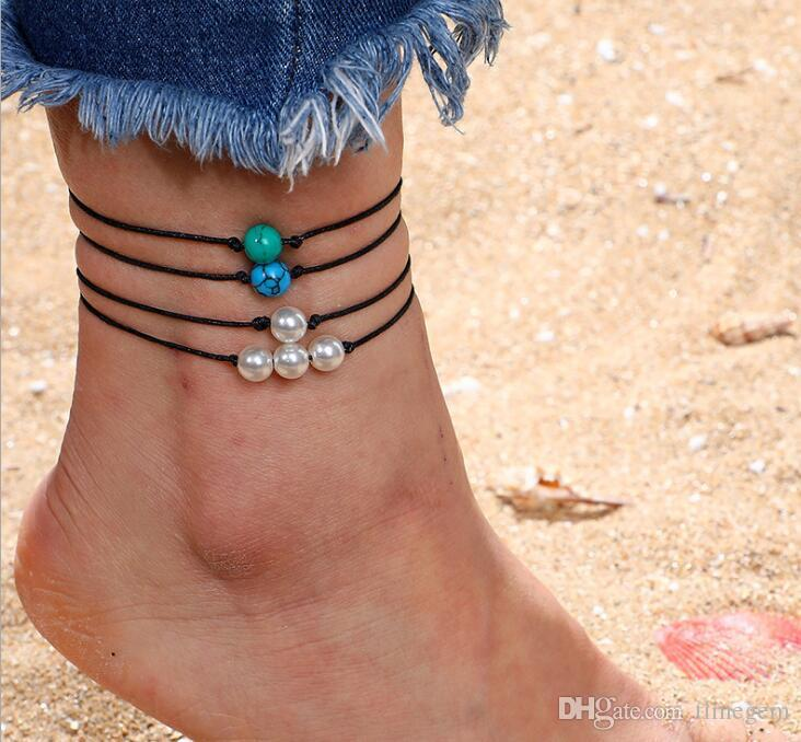 2019 Hot Selling European and American Weave Leather Pearl Seaside Beach Natural Simplicity Four Sets Anklets B3136