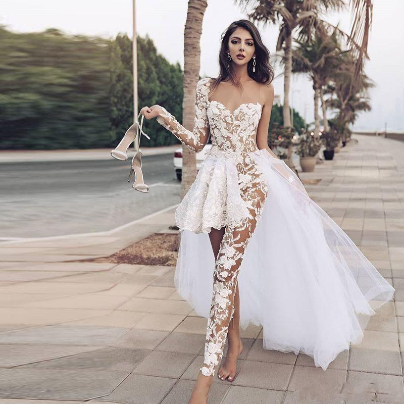 Jumpsuits Beach Wedding Dresses With Lace Appliques One Shoulder Lace Overskirts Wedding Dress With Pants See Through robe de mariee