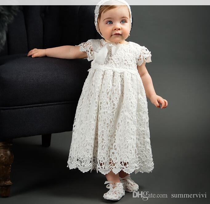 b28a055b69025 Baby girls party dresses kids lace hollow crochet embroidery dress 1 Years  baby birthday Ball Gown toddlers baptism dress with hats A01555