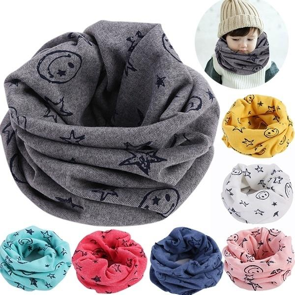 2018 Winter Fashion Children's Keep Warm Cartoon Smile Face Stars Print Cotton Scarf Baby Shawl Scarves