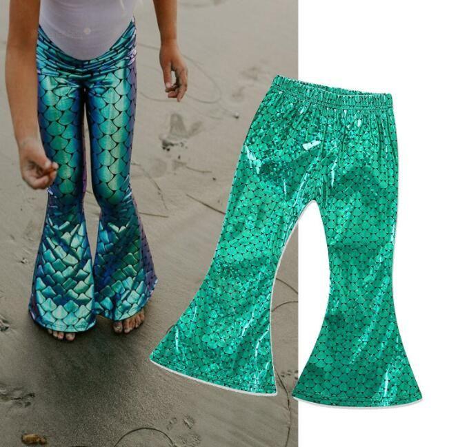 30909ac961da7 Kids Mermaid Leggings Wide Leg Pants Trousers Fish Scale Flare Pants INS  Baby Girls Leggings Children Trousers Mermaid Pants KKA6304 Slim Boys Dress  Pants ...