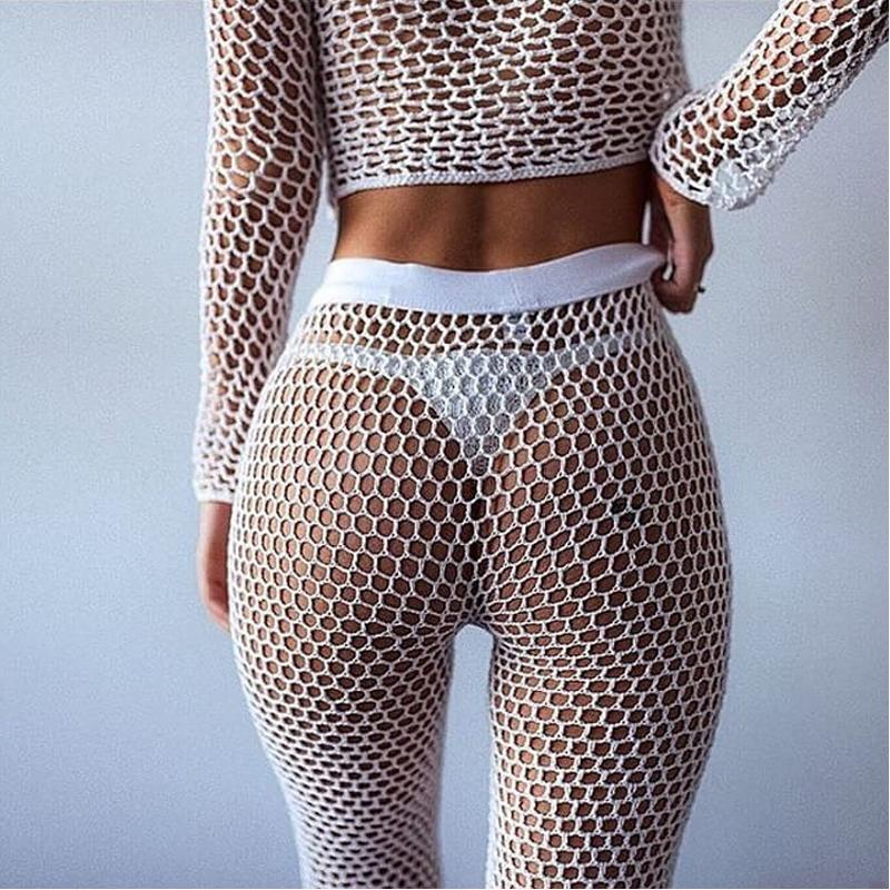 2019 Tunic Fishnet Crochet Beach Cover Up Pants White Black Long