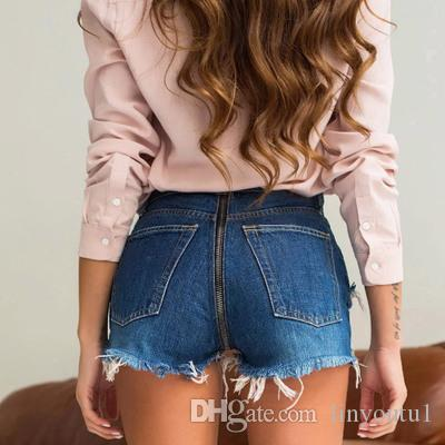 2019 Sexy Back Zipper Denim Shorts Distressed Zerrissene Blaue Shorts Jeans Feminino Plus Size jeans femme