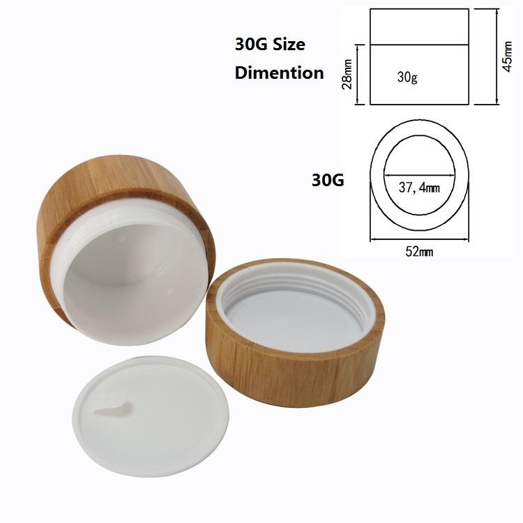Bamboo Cream Jar PP Plastic Container 10G 20G 30G 50G Empty Refillable Bottle Cosmetic Packaging Pot Bamboo Wooden Jar (2)
