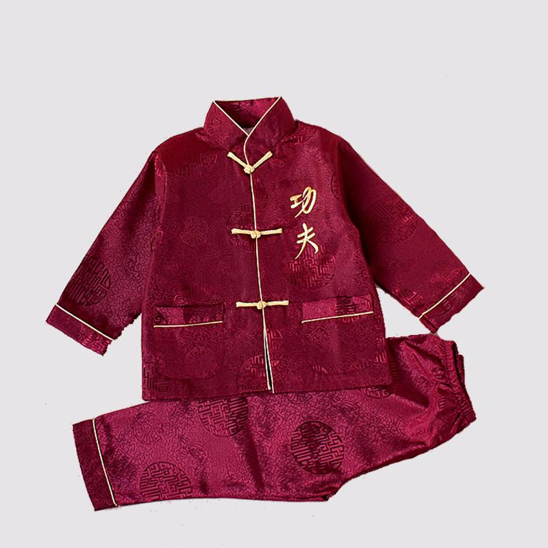 Long Sleeve Kids Embroider Kung Fu Suit Chinese Style Boys Wushu Show Sets Jacket+Pants Dramaturgic Costume 2-16 YZT082506