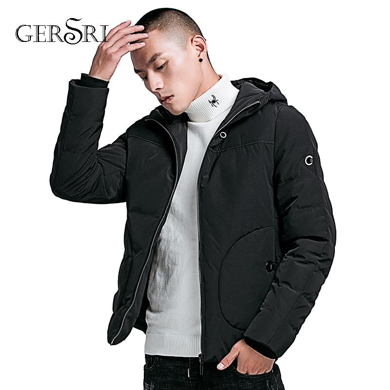 Gersri Mens Winter Solid Parka Warm Jackets Simple Practical Waterproof Zipper Pocket High Quality Parka for male Size M-4XL