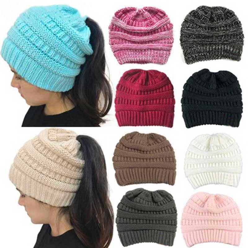 ea32f2444c7 Fashion Women Winter Hat Ponytail Beanie Cotton Skullies Beanies Female  Knitted Warm Winter Hats For Women Hat Fashion Girl Cap S18120302 Winter  Hats Beanie ...