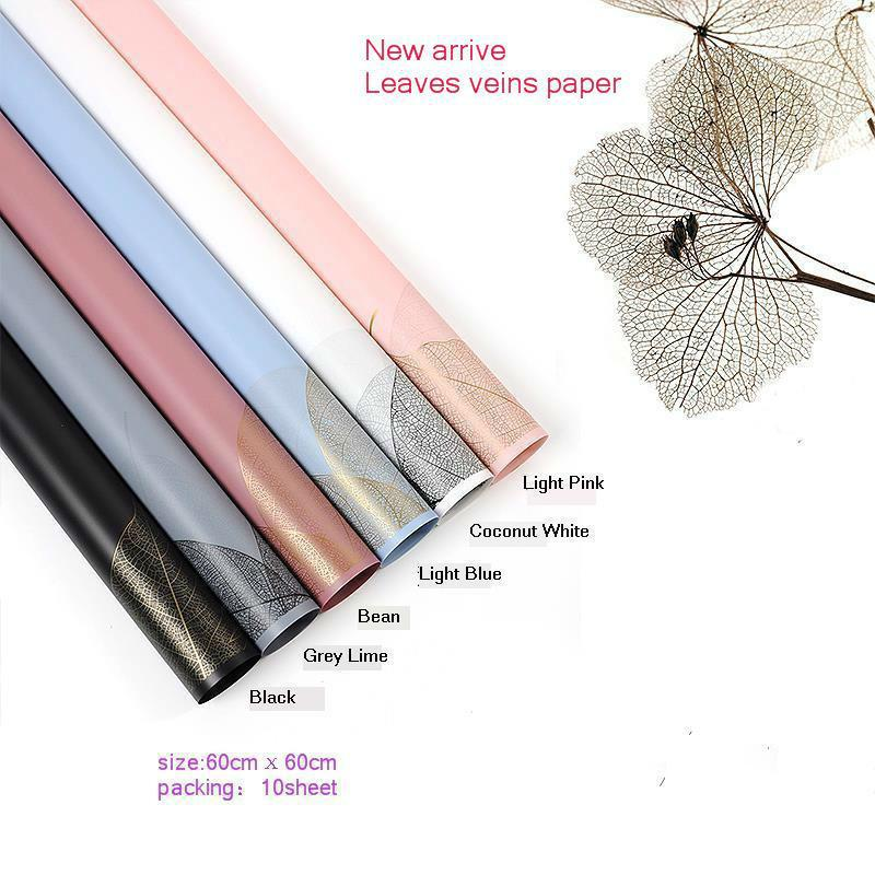 Waterproof Leaf Vein Christmas Wrapping Paper Gift Wrap Bouquet Packaging Florist Supplies Valentine's Day Party Decoration