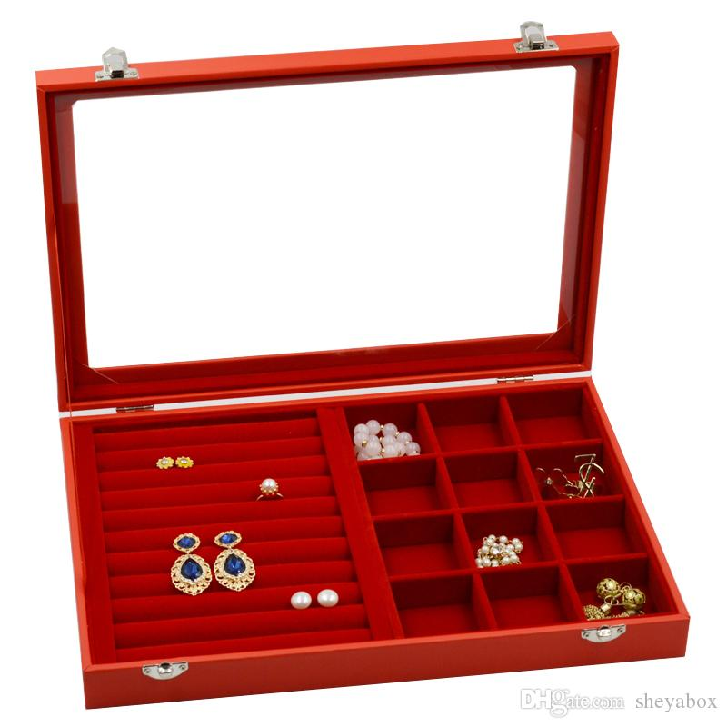 Cheap Price Jewelry Box Adjustable Tray Case Brown Pu Leather Glass Top Watch Box Organizer Jewelry & Watches