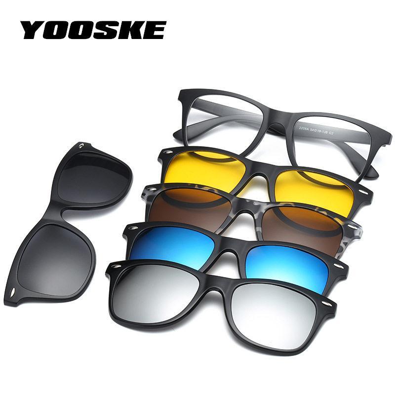 dd6f4540cb1551 Großhandel YOOSKE Mode Optische Brillengestell Männer Frauen Magnetische  Sonnenbrille Polarisiert Für Männliche Myopie Brillen Mit 5 Clip Auf Brille  Von ...