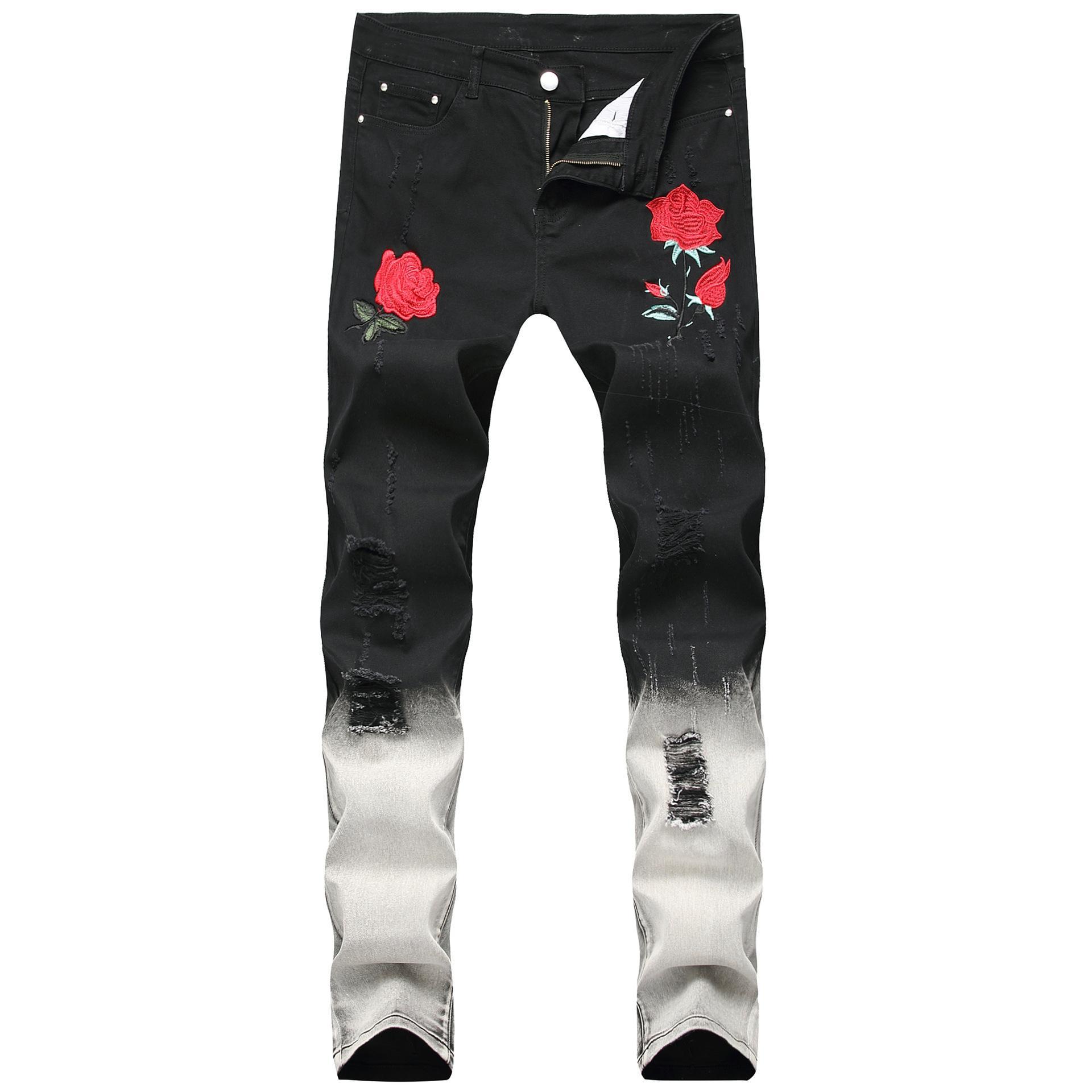 Slim Denim Luxe Pantalon 2019 Nouveau Hommes Brodés Fit Rose De Jeans Imprimé Trou Off Biker Designer PNO8wkZn0X