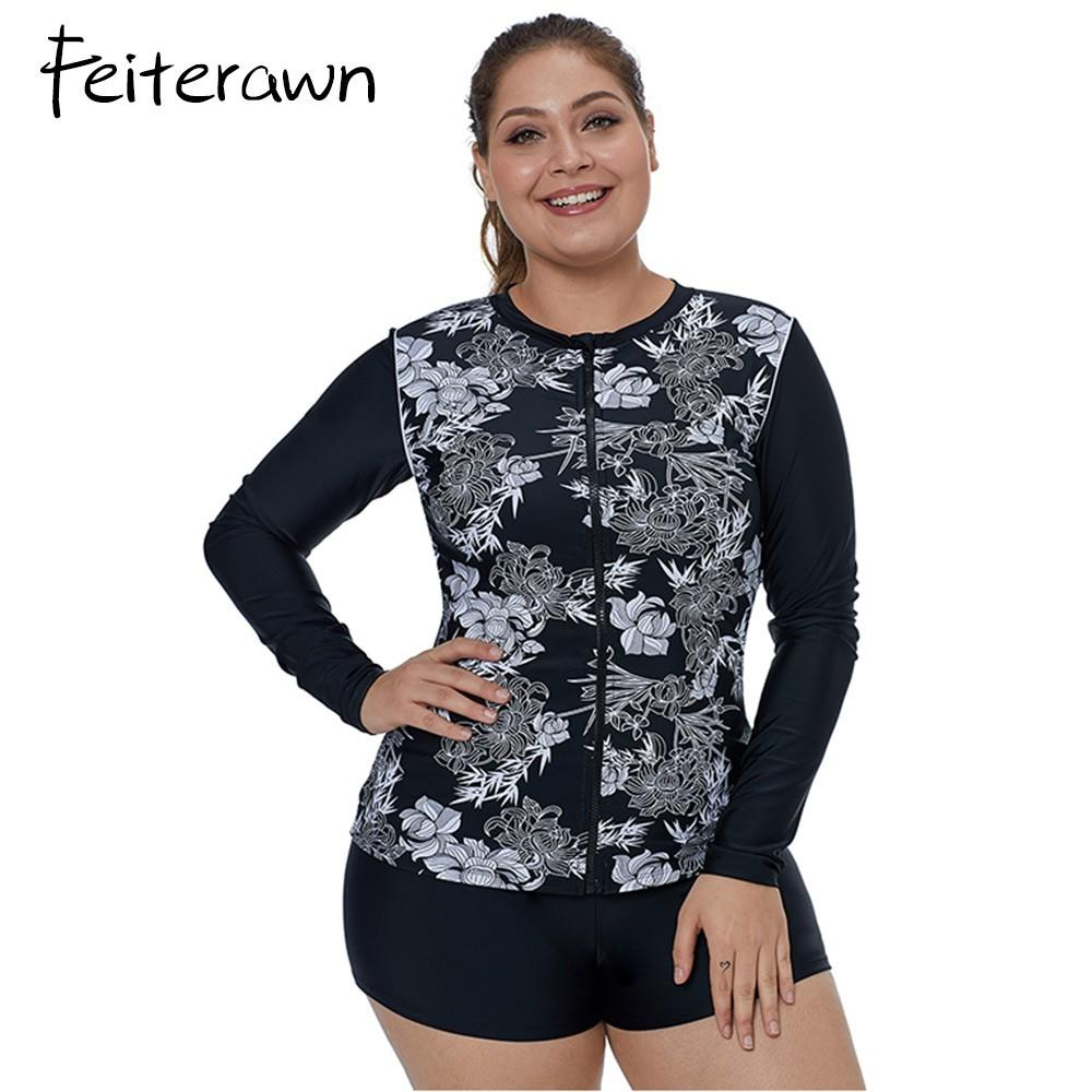 4935eb4aaa4 2019 Feiterawn Plus Size Rashguard Swimming Suit For Women Long Sleeve  Swimsuit Zipper Trajes De Ba O De Las Mujeres DL410924 From Cety, $36.43 |  DHgate.Com