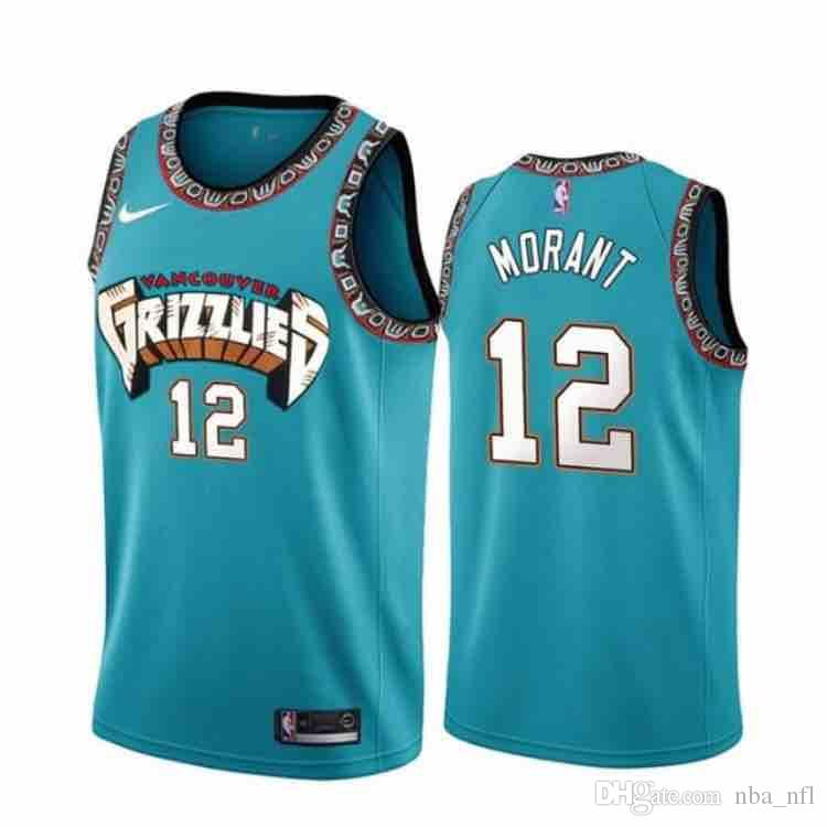 timeless design 7ef3e 07f74 2020 Mens 12 Ja Morant New Retro Green Jersey Stitched Vancouver Grizzlies  12 Ja Morant Classic Mesh Basketball Jersey Customized Anyname