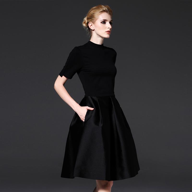 4a335ced86 Compre 2019 Verano Nuevo Vestido De Las Mujeres De Cintura Alta Vestido  Sólido Negro Niñas S XXL Cuello Redondo Vestidos Elegantes Vestida De Moda  Femenina ...