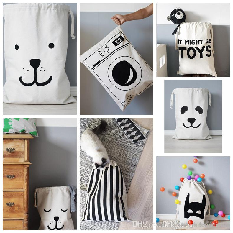 INS TOYS Bear / Panda / Batman / Letter Pattern Canvas Toys Storage Bags Hanging Baby Kids Room Decoration Laundry Hamper Bag Organizer Clothes