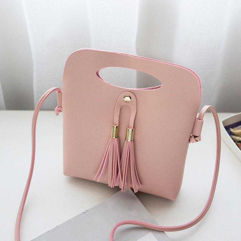 ac4352852345 Cheap Fashion Simple Ladies Candy Color Tassel Bucket Tote Mini Handbags  New Arrival Women Female PU Leather Shoulder Bag Popular