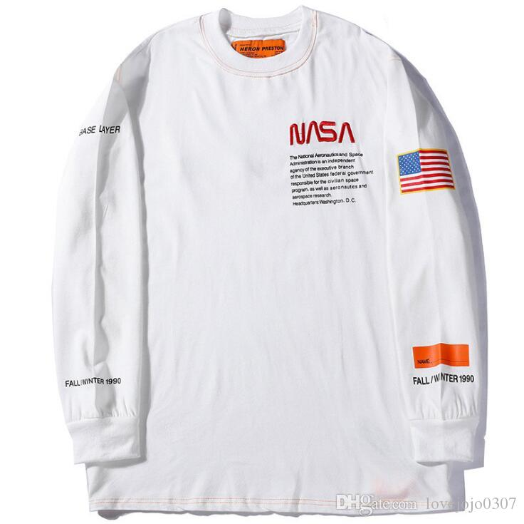 c6a8d966 2019 Mens Long Sleeve Streetwear T Shirt Heron Preston NASA Pullover Hooded  Sweatshirt USA Flag Couple Hoodies Men Long Sleeve Casual Hoodies From ...