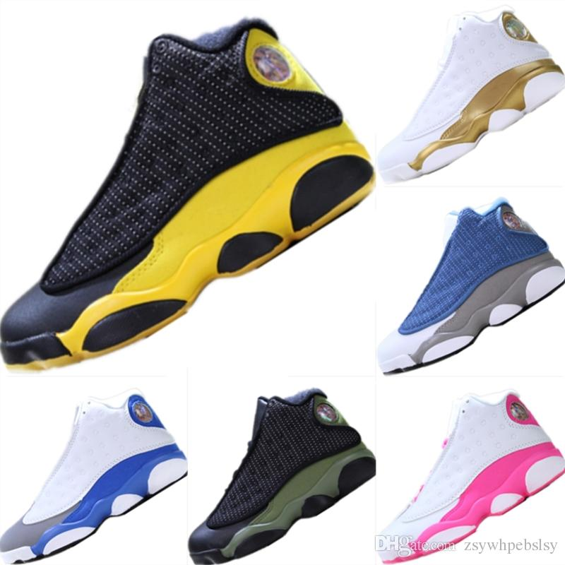 the best attitude 96bd0 66ef6 2019 Classic 13s Black Cat Leather Chicago Golden Wheat Kids Basketball  Shoes 13 og Black Cat Mix Rubber Cuushioning Athletic Shoes