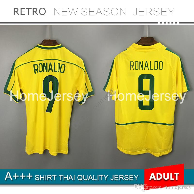 buy popular f4108 d45c9 1998 retro soccer jerseys 2002 retro Home classic shirts Carlos Romario 9#  Ronaldo Ronaldinho 1994 Jersey camisa de football shirt