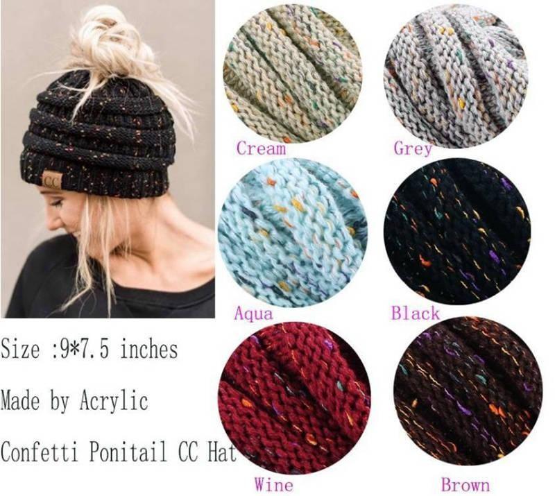 fe12e5f69ce7b New CC Beanie Hat Women Crochet Knit Cap Winter Skullies Beanies Warm Caps  Female Knitted Hats For Ladies Winter Ponytail Hat Beanie Cap Watch Cap  From ...