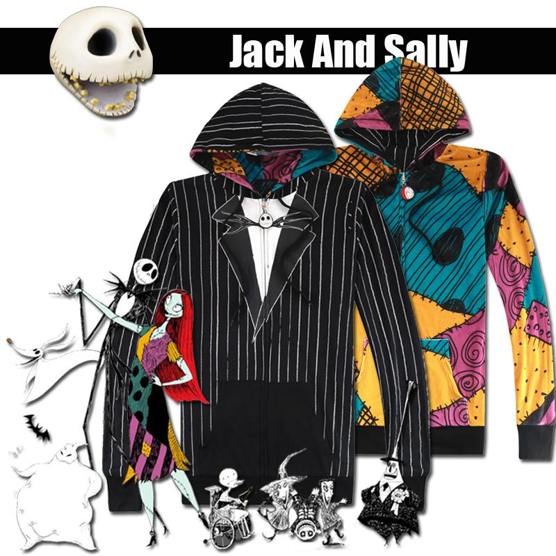 Nightmare Before Christmas Jack Skellington costume cosplay Felpe Halloween Felpa vacanze vestito reversibile JacketMX190923 Coat