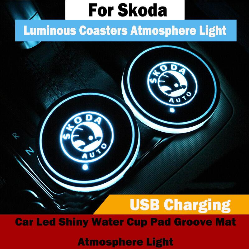 Skoda RS Rapid Octavia Superb Fabia Car Led Shiny Water Cup Pad Groove Mat Luminous Coasters Atmosphere Light