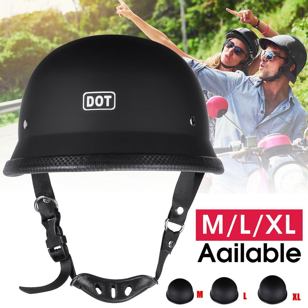 M/L/XL DOT Motorcycle German Style Half Face Helmet Motocross Bike Matte Black With Adjustable D-ring and chin strap