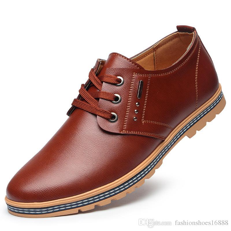 948d8d64e5 Compre Hombres De La Marca De Cuero Zapatos Planos Ocasionales De Los Hombres  2019 Primavera Verano Cómodos Y Transpirables Simples Y Elegantes Zapatos  De ...