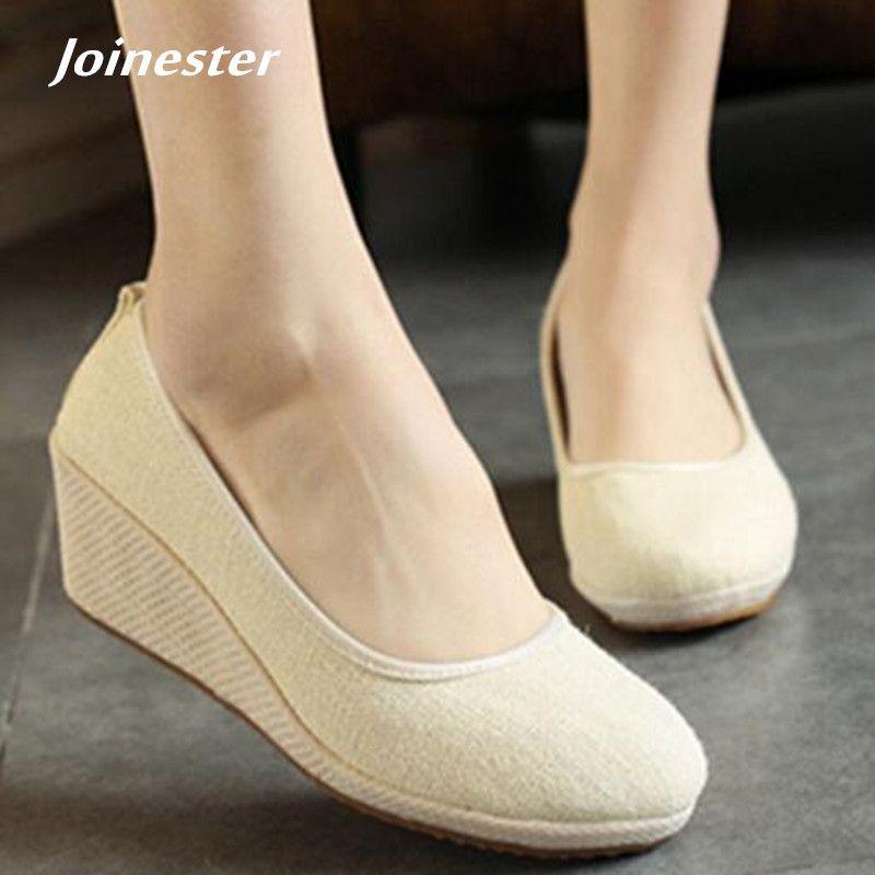1a5ed4c9d20 Designer Dress Shoes Women s Pure Color Vintage Hemp Wedge Pumps Round Toe  Casual Lady Mid Heel Walking Slip-on Closed Toe Espadrilles