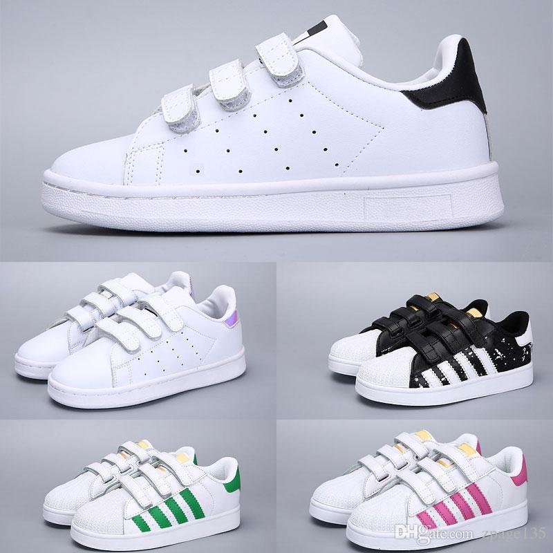 Adidas Superstar Heiße Kinder 2018 Super Star weiß Hologramm schillernden Junior Kinder Superstars 80er Jahre Stolz jungen Mädchen Trainer Superstar Freizeitschuhe Größe 24-3