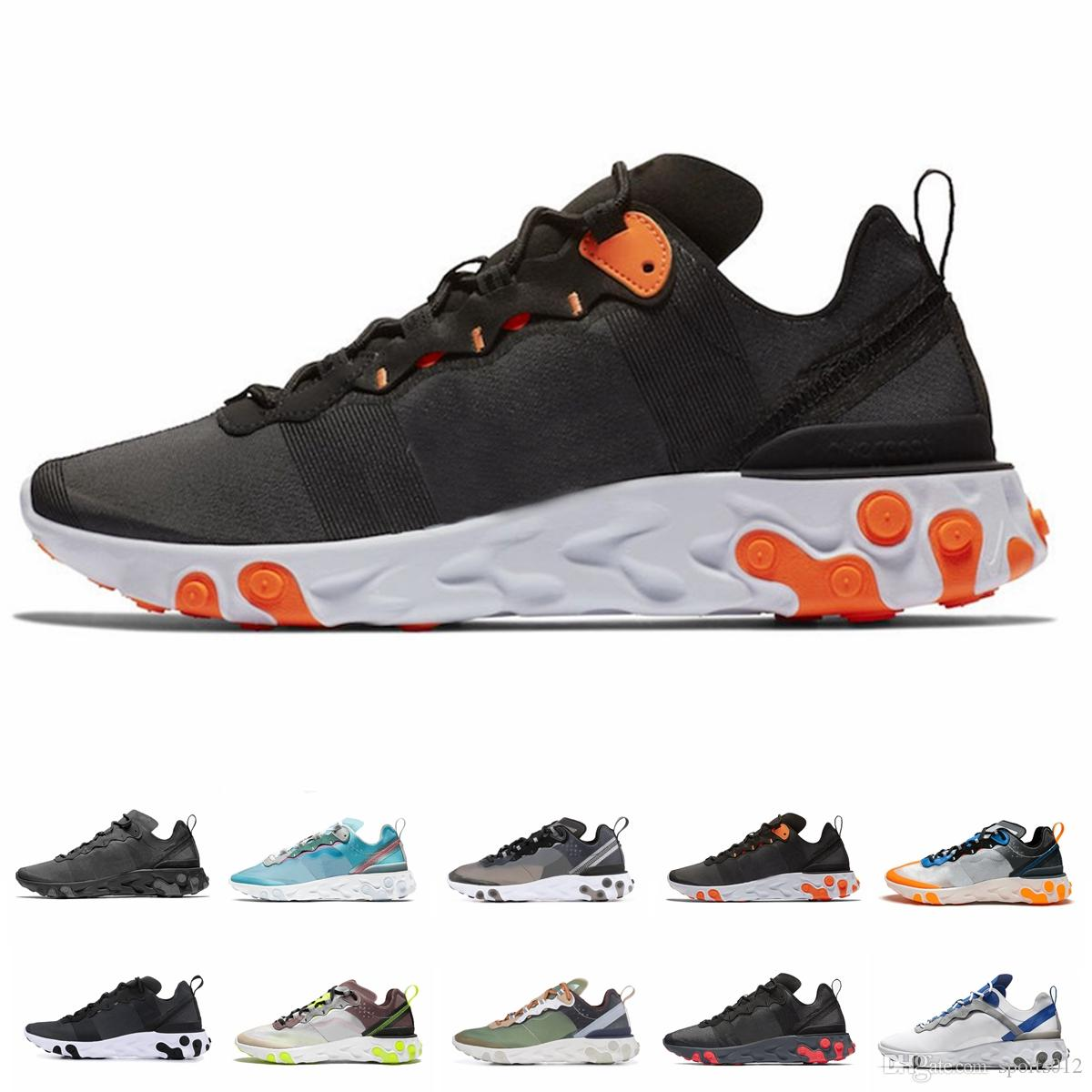 2019 react element 87 55 running shoes for men women Anthracite Light Bone triple black white RED ORBIT fashion mens trainers sports sneaker