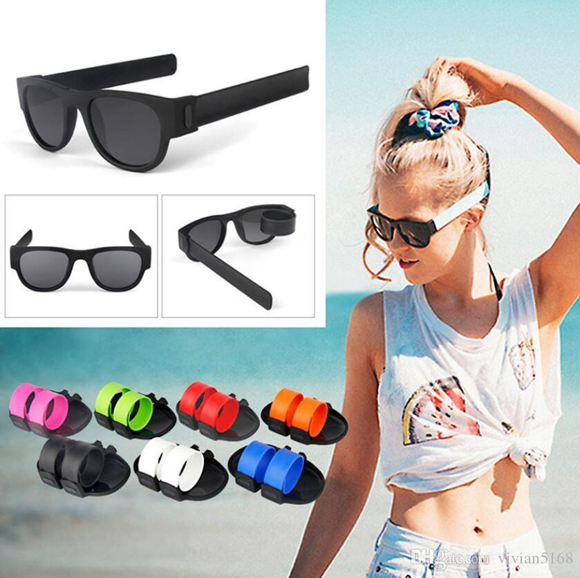 Slap Slap Folding Sunglasses Polarized Mirror Women Slappable Bracelet Occhiali da sole per uomo Wristband Fold Shades Oculos Colorful Fashion