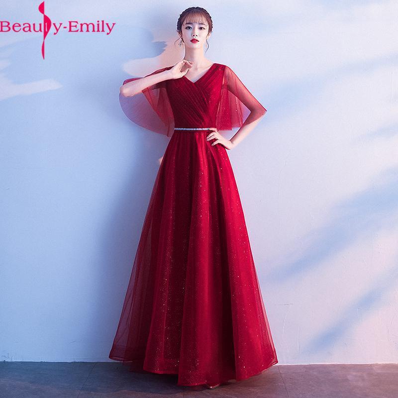 658b870bdf5e Beauty Emily Vestidos de noche largos con cuello en V y champán 2019 Lace  Up Back Media manga Vestido maxi fiesta Vestidos de fiesta de graduación ...