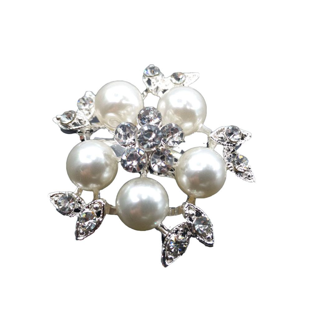 Gold-Color Simulated Pearl Flower Brooches Rhinestone Scarf Buckles Corsage Small Shawl Pins accessories