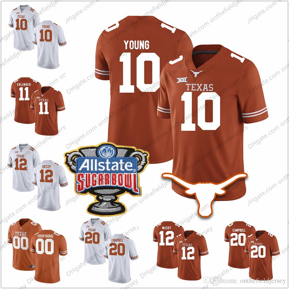 2019 Texas Longhorns  10 Vince Young 12 Colt McCoy 20 Earl Campbell 34  Ricky Williams 2018 NCAA Sugar Bowl College Football Jerseys S 3XL From ... c156c6a69