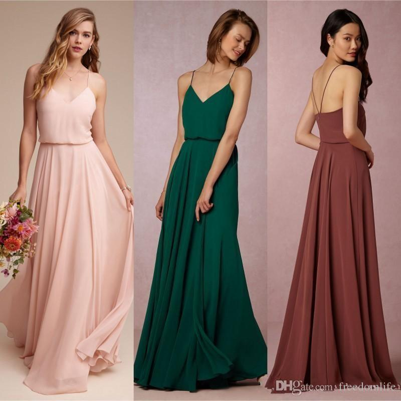 Cheap Rust Red Blush Emerald Chiffon Spaghetti Straps Long Bridesmaid Dresses A Line Beach Party Wedding Plus Size Guest Maid Of Honor Gowns