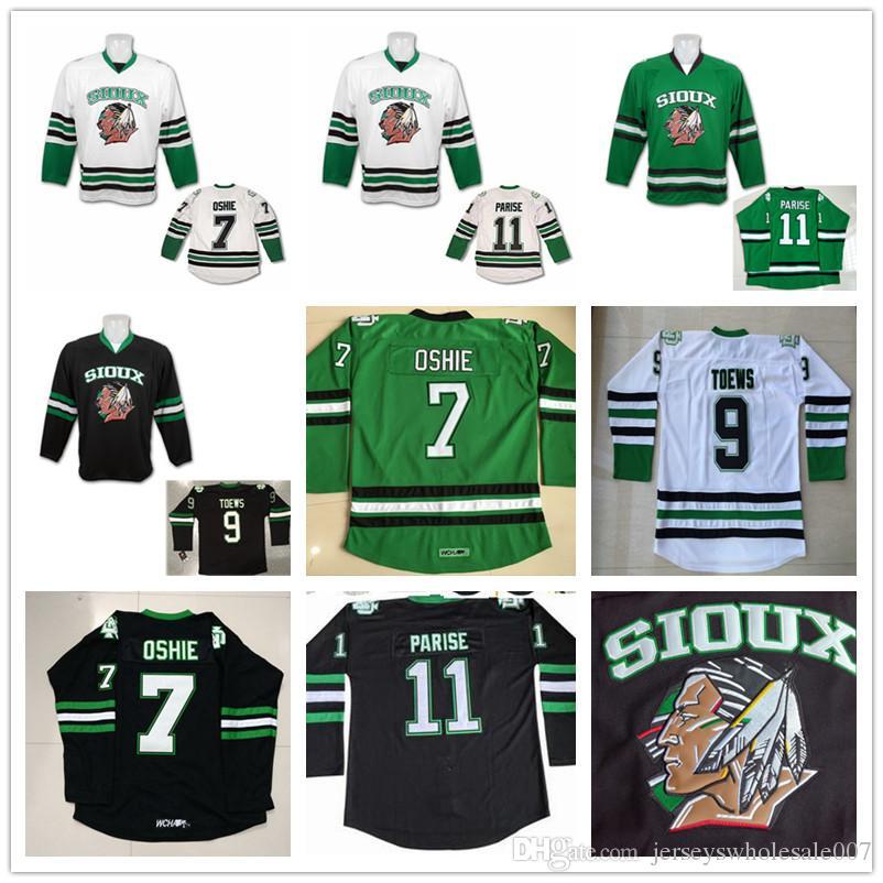 reputable site c71b1 e124f North Dakota Fighting Sioux Hockey Jersey #7 TJ Oshie 11 Zach Parise 9  Jonathan Toews Blank Green Black White University Stitched Jerseys
